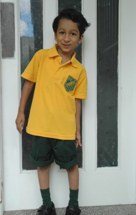 Our Big Boy goes to Big School (in shorts that are too long!)